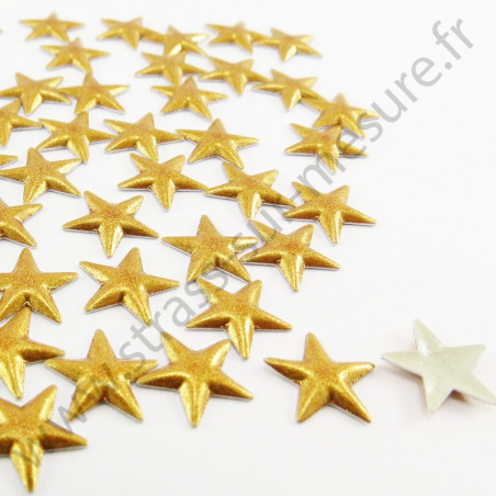 Strass thermocollant en métal étoile - Doré nacré - 8mm, 10mm