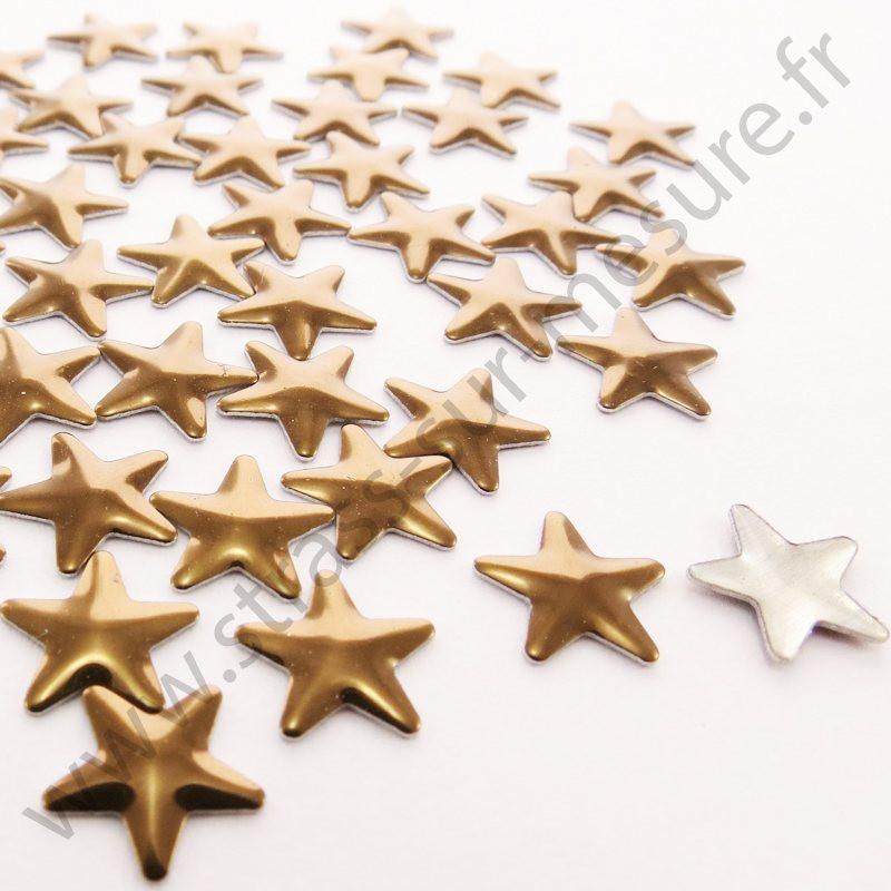 Strass thermocollant en métal étoile - Marron