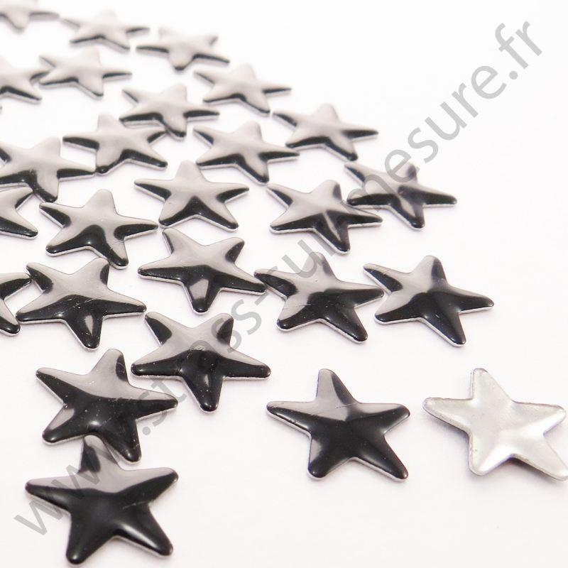 Strass thermocollant en métal étoile - Noir