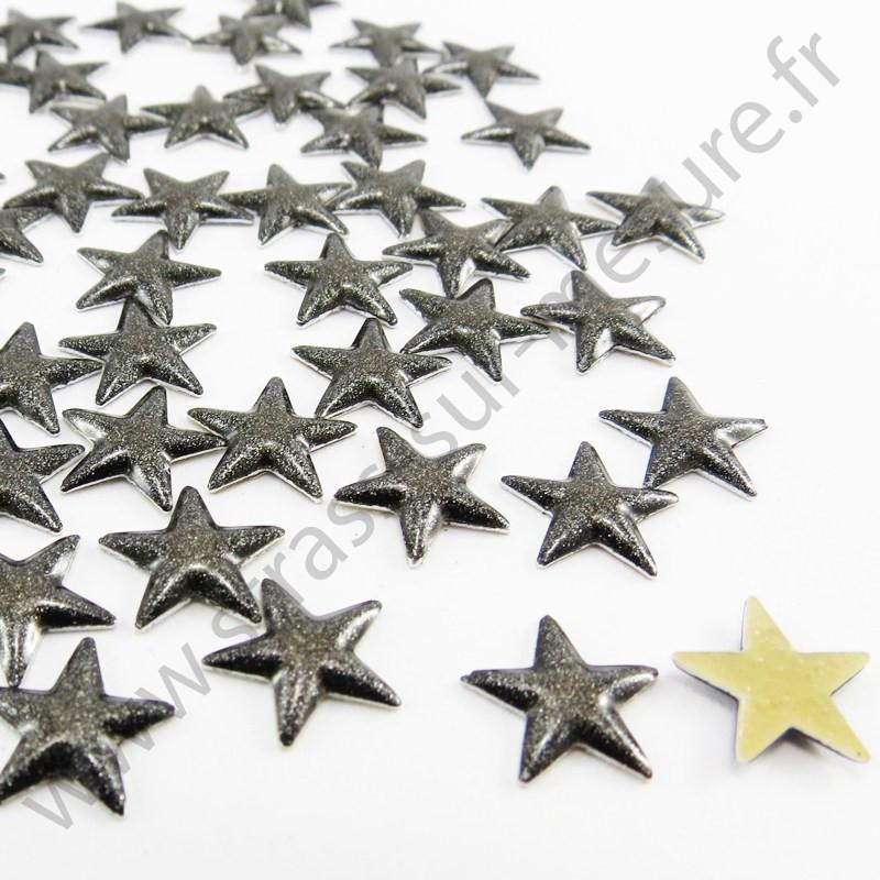 Strass thermocollant en métal étoile - Noir nacré