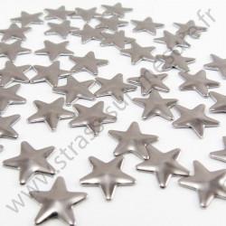 Strass thermocollant en métal étoile - Gris