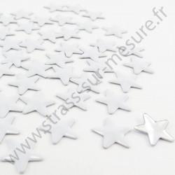 Strass thermocollant en métal étoile - Blanc