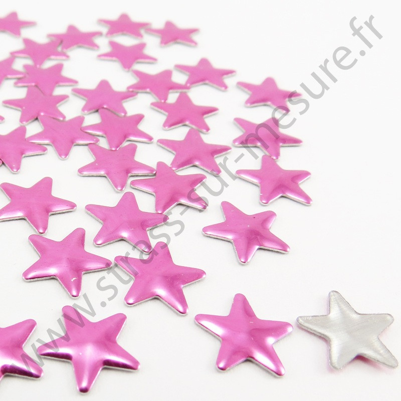 Strass thermocollant en métal étoile - Rose fuchsia