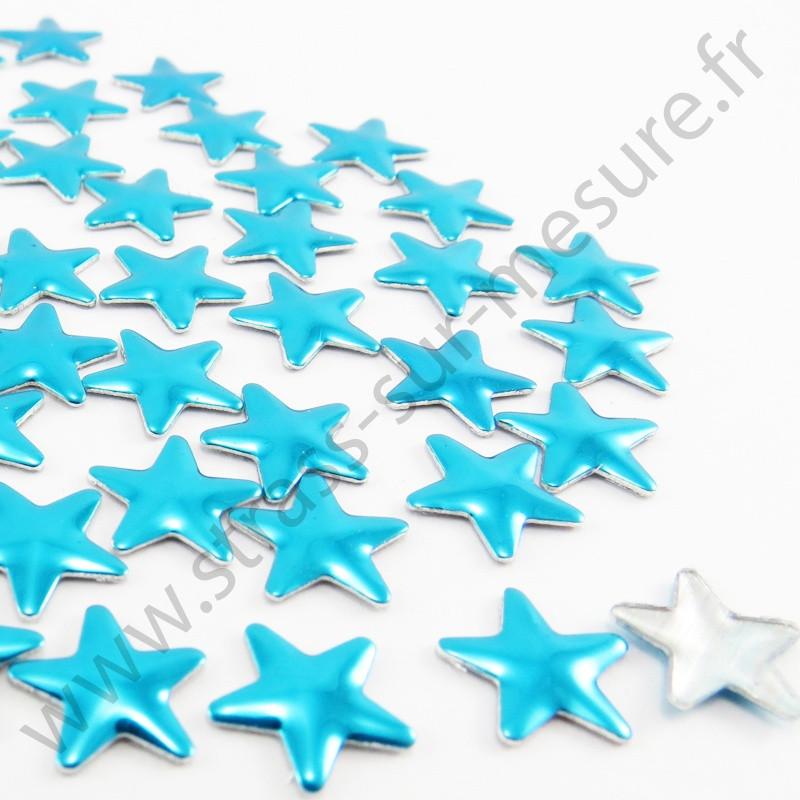 Strass thermocollant en métal étoile - Turquoise