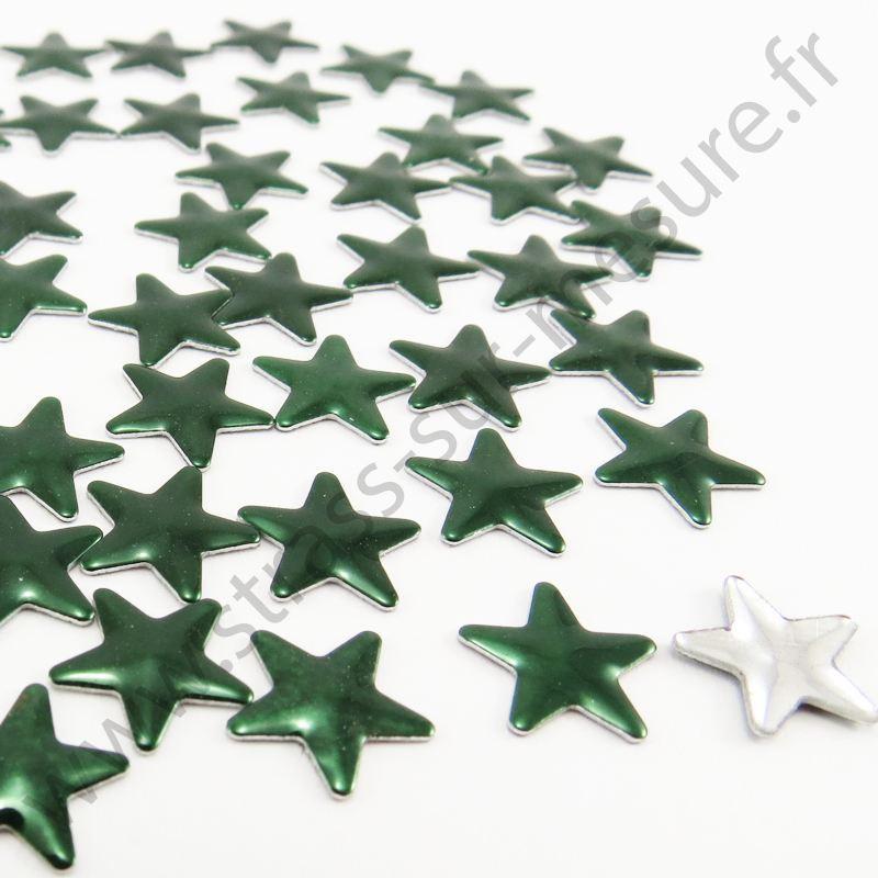 Strass thermocollant en métal étoile - Vert émeraude