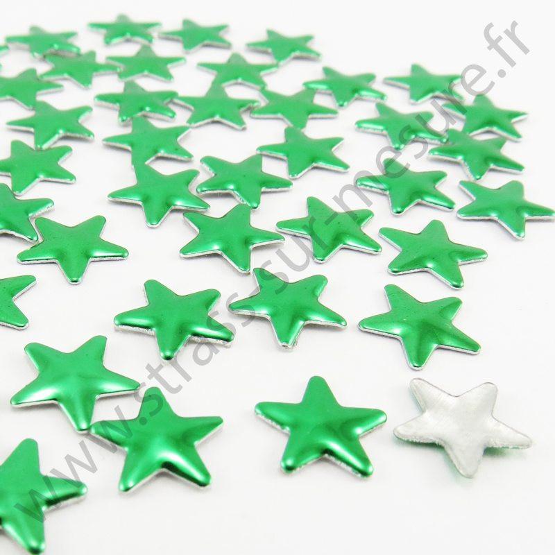 Strass thermocollant en métal étoile - Vert sapin