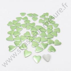 Strass thermocollant en métal cœur - Vert pomme
