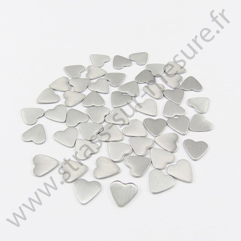 Strass thermocollant en métal cœur - Argent mat