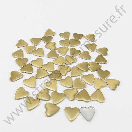 Strass thermocollant en métal cœur - Doré mat
