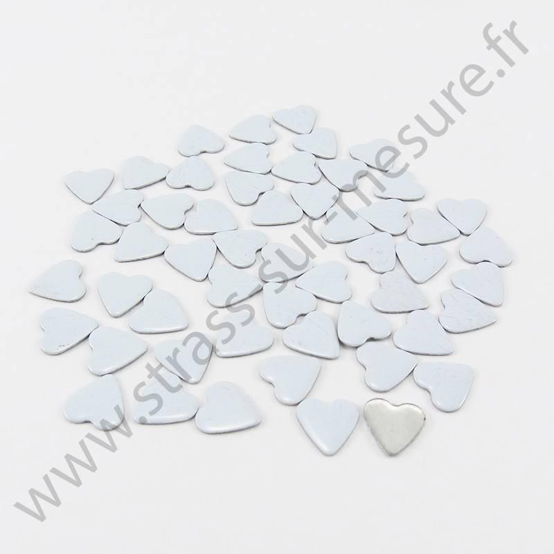 Strass thermocollant en métal cœur - Blanc