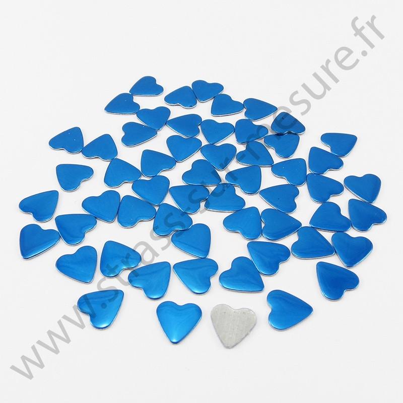 Strass thermocollant en métal cœur - Bleu