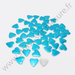 Strass thermocollant en métal cœur - Turquoise