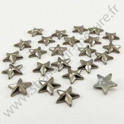 Strass thermocollant en métal étoile - Noir vieilli