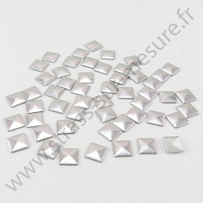 Strass thermocollant en métal carré - Argent