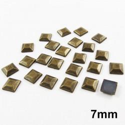 Strass thermocollant en métal carré - Doré vieilli