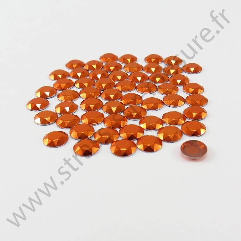Strass thermocollant en métal à facettes - Orange