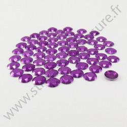 Strass thermocollant en métal à facettes - Violet