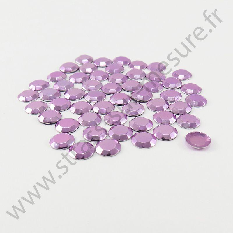 Strass thermocollant en métal à facettes - Violet clair