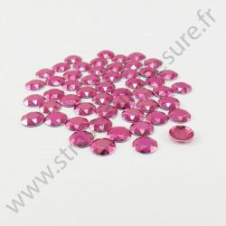 Strass thermocollant en métal à facettes - Rose fuchsia