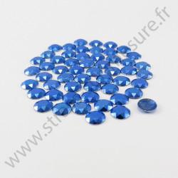 Strass thermocollant en métal à facettes - Bleu royal