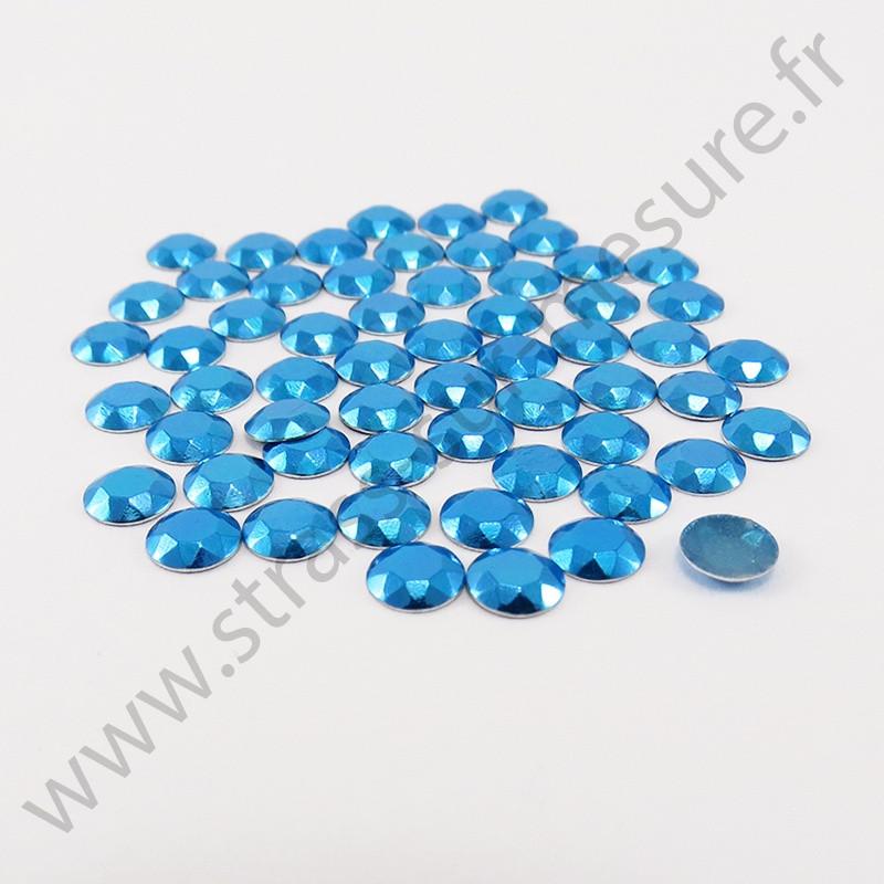 Strass thermocollant en métal à facettes - Bleu