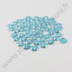 Strass thermocollant en métal à facettes - Bleu ciel