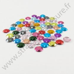 Strass thermocollant en métal à facettes - Multicolore