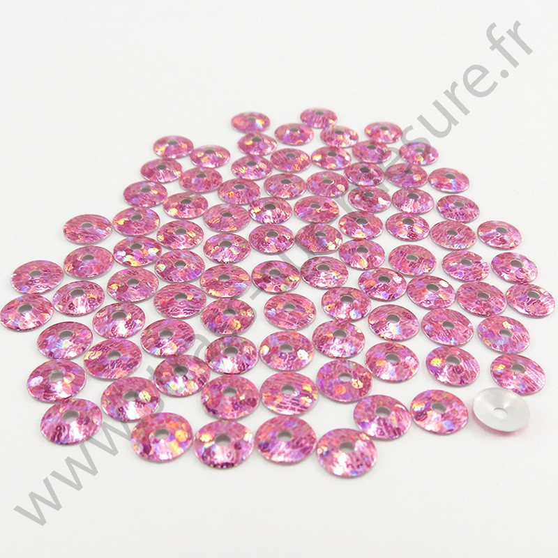 Sequin thermocollant - Rose clair hologramme