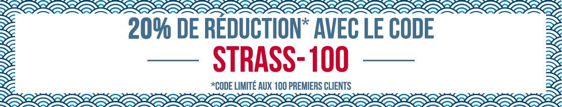 20% de réduction pour les 100 premiers clients avec le code STRASS100, profitez en !